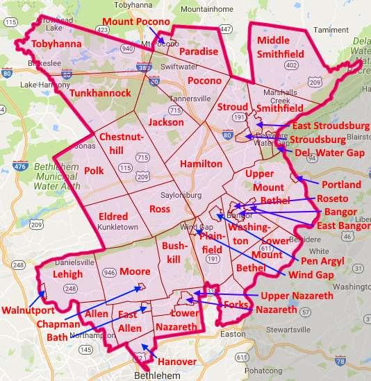 Pa Senate District 40 Municipal Map
